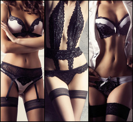 Collage of different images of a gorgeous and beautiful girls in sexy underwear. Fashion and vogue concept.