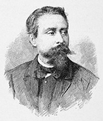 Ancient close up portrait of a man with stylish beard and goatee. Giovanni Acerbi (1825 - 1869) Italian patriot. By E. Matania published on Garibaldi e i Suoi Tempi Milan Italy, 1884, Acerbi