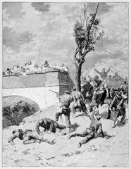Ancient armys shooting each other close to a bridge where Narciso Bronzetti (1821 - 1859) will find the death. By E. Matania published on Garibaldi e i Suoi Tempi Milan Italy 1884