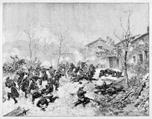Violent battle in winter on a snowed battlefield close to an ancient town. Dijon battle in 1871 by troops led by Garibaldi. By E. Matania on Garibaldi e i Suoi Tempi Milan Italy 1884 Dijon battle