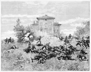 Ancient gun battle on a hill with a house on center top. Garibaldi fighting at Villa Spada Rome. By E. Matania published on Garibaldi e i Suoi Tempi Milan Italy 1884 Garibaldi
