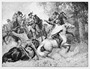 Ancient soldiers running on their horses. Garibaldi and Anghiar directing cavalry against Bourbons troops near Velletri Italy. By E. Matania published on Garibaldi e i Suoi Tempi Milan Italy 1884
