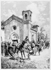 Ancient soldiers with their horses resting close to a country church. Garibaldi's army in Rieti. By E. Matania published on Garibaldi e i Suoi Tempi Milan Italy 1884
