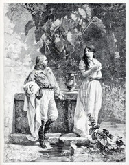 First meeting of Garibaldi and Anita in a romantic garden. Ancient people in ancient clothes. By E. Matania published on Garibaldi e i Suoi Tempi Milan Italy 1884 Garibaldi and Anita