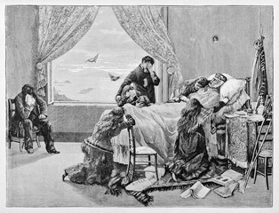 Garibaldi dying on his death bed taken care by his sad family in a room in Caprera. By E. Matania published on Garibaldi e i Suoi Tempi Milan Italy 1884