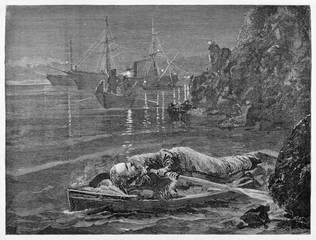 Garibaldi escaping from Caprera in the night hiding himself on a oar boat. Enemy soldiers looks for him in the sea near the cliff. By E. Matania published on Garibaldi e i Suoi Tempi Milan Italy 1884