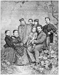 Garibaldi family. Giuseppe Garibaldi with his sons and his wife in a floreal context. By E. Matania published on Garibaldi e i Suoi Tempi Milan Italy 1884