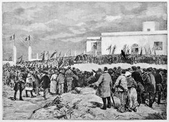 Crowd of ancient people arranged in a square attend to Garibaldi funeral in Caprera. By E. Matania published on Garibaldi e i Suoi Tempi Milan Italy 1884