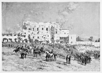 Ancient building on a countryside and an army in front of it. Villa Savorelli Garibaldi's headquarters 1849. By E. Matania published on Garibaldi e i Suoi Tempi Milan Italy 1884