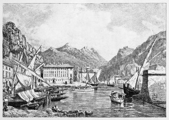 Ancient Nice (France) cityscape with a sea port, sail boats, building and mountains on background. By E. Matania published on Garibaldi e i Suoi Tempi Milan Italy 1884