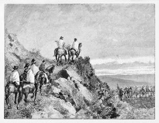 Ancient soldiers in back view climbing a hill on horse on a sunset context. Garibaldi retreat on Monte Luna leaving Rome. By E. Matania published on Garibaldi e i Suoi Tempi Milan Italy 1884