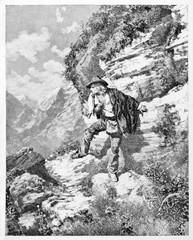 Ancient young man runs away and hiding trough the rocks. Garibaldi runaway in the mountains of Sestri Levante Italy. By E. Matania published on Garibaldi e i Suoi Tempi Milan Italy 1884