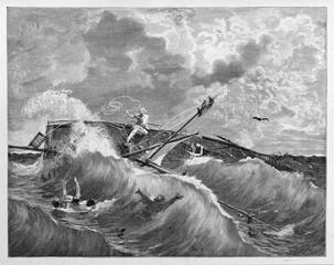 Violent shipwreck of a small boat in the rough sea between terrible waves. Garibaldi in Tamarindi lake, Southern America. By E. Matania published on Garibaldi e i Suoi Tempi Milan Italy 1884