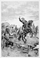 Garibaldi horseback inciting his soldiers in Treponti Italy. The horse rears up on a grass. By E. Matania published on Garibaldi e i Suoi Tempi Milan Italy 1884