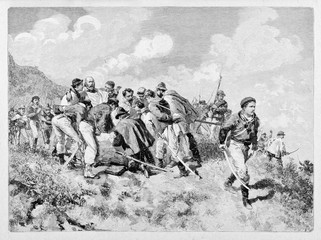 General Garibaldi wounded during a fight on mountains in Aspromonte. His soldiers support him. By E. Matania published on Garibaldi e i Suoi Tempi Milan Italy 1884