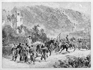 General Garibaldi supported by his soldiers during a fight on a mountainscape. Monte Suello battle. By E. Matania published on Garibaldi e i Suoi Tempi Milan Italy 1884