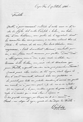 Ancient letter hand written in splendid traditional calligraphy using pen and inkwell. Reproduction of a letter from Garibaldi to G.B.B. Cuneo published on Garibaldi e i Suoi Tempi Milan Italy 1884