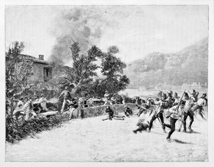 Ancient troops defending a house from the attack of a opposite army using rifles and swords. Luino battle, Italy. By E. Matania published on Garibaldi e i Suoi Tempi Milan Italy 1884