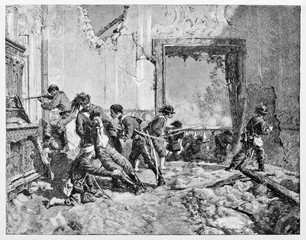 Man mortally wounded during an ancient fight in a ruined room. Italian patriot Luciano Manara supported by allies soldiers in Rome 1849. By E. Matania on Garibaldi e i Suoi Tempi Milan Italy 1884