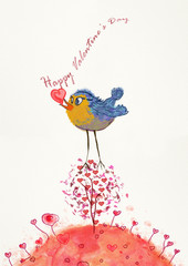 Happy Valentine's Day. Watercolor and gouache greeting card