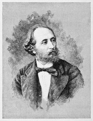Ancient engraved portrait of a elegant man wearing a bow tie. Alberto Mario (1825 - 1883) Italian politician. By E. Matania after photo of Iankovich on Garibaldi e i Suoi Tempi Milan Italy 1884
