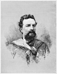 Portrait of an ancient soldier looking hard and brave with his beard. Giacomo Medici (1817 - 1882) Italian soldier and patriot. By E. Matania on Garibaldi e i Suoi Tempi Milan Italy 1884