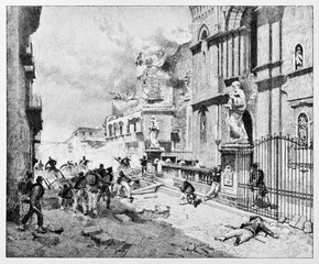 Ancient urban warfare trough Palermo streets. Palermo bombing during the insurrection for Garibaldi arrival. By E. Matania published on Garibaldi e i Suoi Tempi Milan Italy 1884