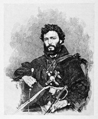 Portrait of an ancient young revolutionary soldier with black beard. Friar Pantaleo (1831 - 1879) Italian monk and patriot. By E. Matania published on Garibaldi e i Suoi Tempi Milan Italy 1884