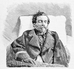 Ancient portrait of a young guy sleeping dressed with a pillow on backs. Luigi Perla (1839 - 1871) Italian military and patriot. By E. Matania published on Garibaldi e i Suoi Tempi Milan Italy 1884