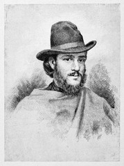Ancient portrait of a young bearded guy wearing a hat and a poncho. Rosolino Pilo (1820 - 1860) Italian patriot By E. Matania published on Garibaldi e i Suoi Tempi Milan Italy 1884