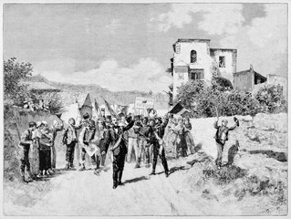Crowd of insurrection people waving their flags and leader on an ancient countryside.  Rosolino Pilo leading a political demonstration in Sicily. By E. Matania on Garibaldi e i Suoi Tempi Milan 1884
