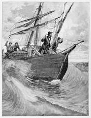 People on an ancient small vessel on the rough sea. Italian patriot Rosolino Pilo (1820 - 1860) on board of the Paranza. By E. Matania published on Garibaldi e i Suoi Tempi Milan Italy 1884