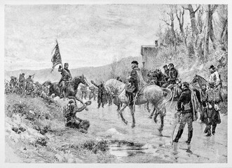 Ancient horseback officer give the enemy flag to his general on the battleground. Ricciotti Garibaldi giving prussian flag to his father. By E. Matania on Garibaldi e i Suoi Tempi Milan Italy 1884
