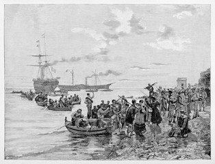 Ancient troops boarding on the vessels saying goodbye to their families in an little harbor. The Thousands beginning boarding in Quarto. By E. Matania on Garibaldi e i Suoi Tempi Milan Italy 1884