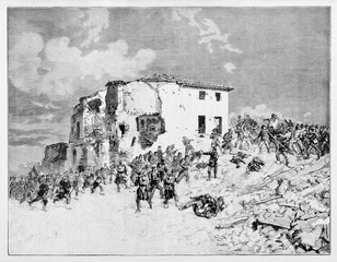 Ancient war damaged building behind two opponent armies fighting on the battleground. Villa Barberini assault in 1849. By E. Matania published on Garibaldi e i Suoi Tempi Milan Italy 1884.