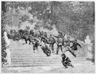Violent fight between two opposite armies on a flight of steps in a elegant garden. Villa Corsini slaughter in 1849. By E. Matania published on Garibaldi e i Suoi Tempi Milan Italy 1884