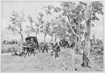 Ancient carriages falling into an ambush by enemy troops on a countryside path. Garibaldi under attack in the Volturno battle area. By E. Matania on Garibaldi e i Suoi Tempi Milan Italy 1884