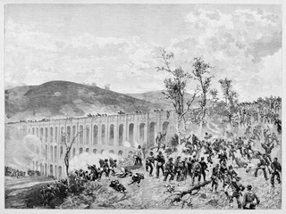 Panoramic view on a ancient violent battle on a big archways bridge. Garibaldi red shirts attacking the Ponti della Valle, Volturno battle. By E. Matania on Garibaldi e i Suoi Tempi Milan Italy 1884