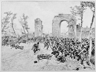 Ancient troops being defeated and running away. Bourbon troops escaping after attack of Garibaldi's red shirts, Volturno battle. By E. Matania published on Garibaldi e i Suoi Tempi Milan Italy 1884