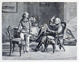 Ancient characters. Young guy holding a gun while a old man reads aloud in a elegant room. Young Giuseppe Garibaldi. By E. Matania published on Garibaldi e i Suoi Tempi Milan Italy 1884