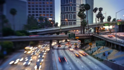Fotobehang - Freeway traffic in downtown Los Angeles. City timelapse.