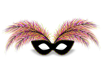 Realistic black color mask bead necklace feather. Isolated white background. Mardi Gras - Fat Tuesday carnival carnival in a French-speaking country. Vector illustration.