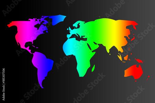 Mapa Del Mundo Del Color Del Arcoiris Sobre Fondo Negro Stockfotos