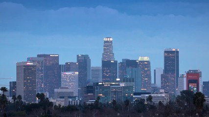 Fototapete - City of Los Angeles skyline timelapse. Zoom in on downtown. Twilight to night.