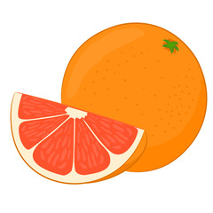 Tasty grapefruit on white background
