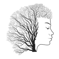 Woman portrait with double exposure, face and tree branches. Vector