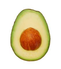half avocado on white background