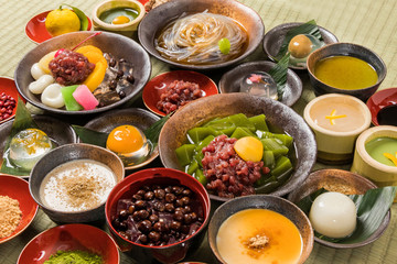 日本の甘味 和のスイーツ typical Japanese sweets