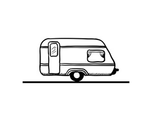 Line Art Van Foods on the Road Hand Drawing Logo Vector