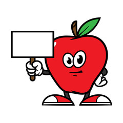 Cartoon Apples Character Holding a Sign